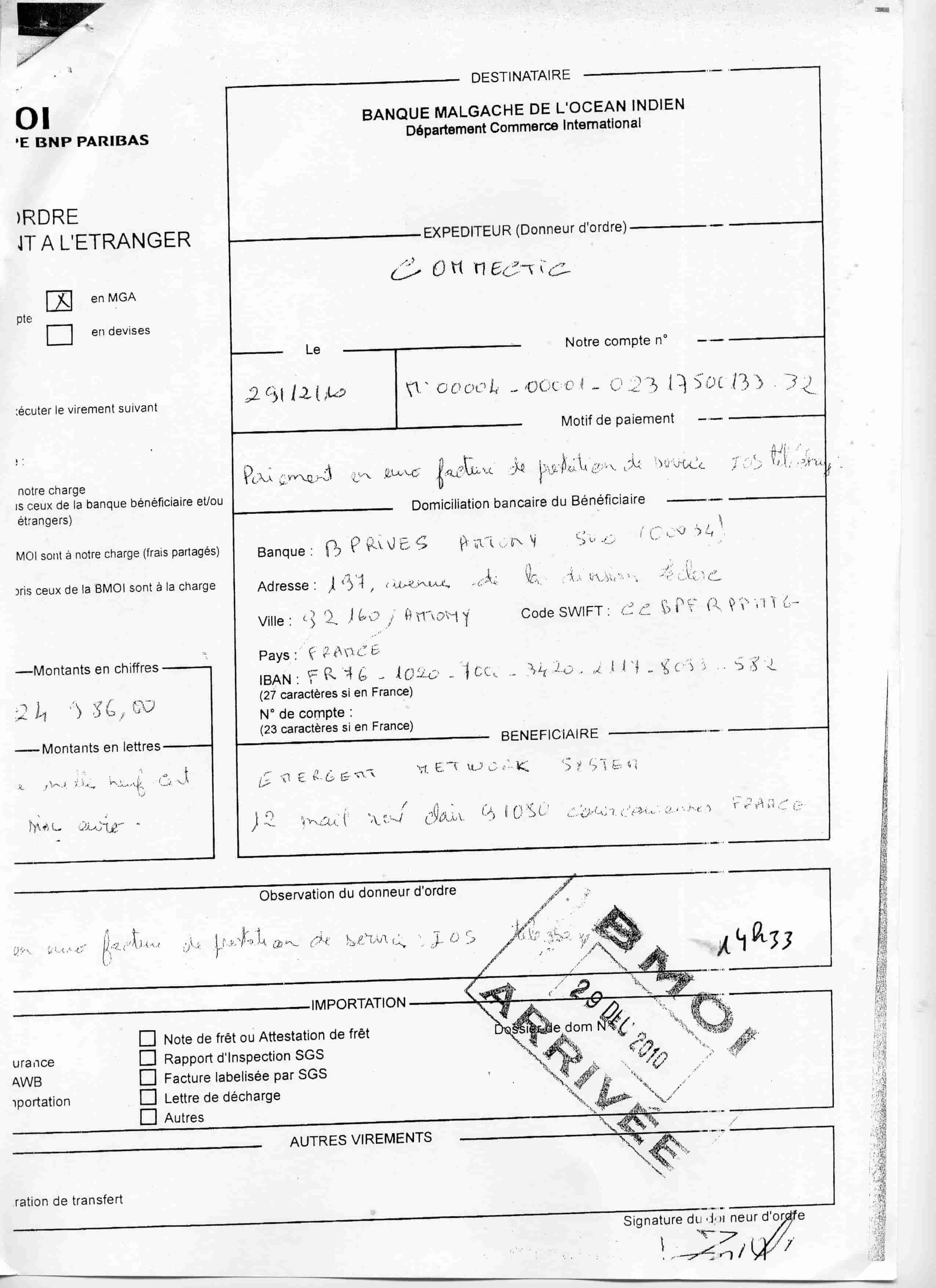 ranarison tsilavo a sign les ordres de virement 2010 29 les preuves qu 39 on a induit en erreur. Black Bedroom Furniture Sets. Home Design Ideas
