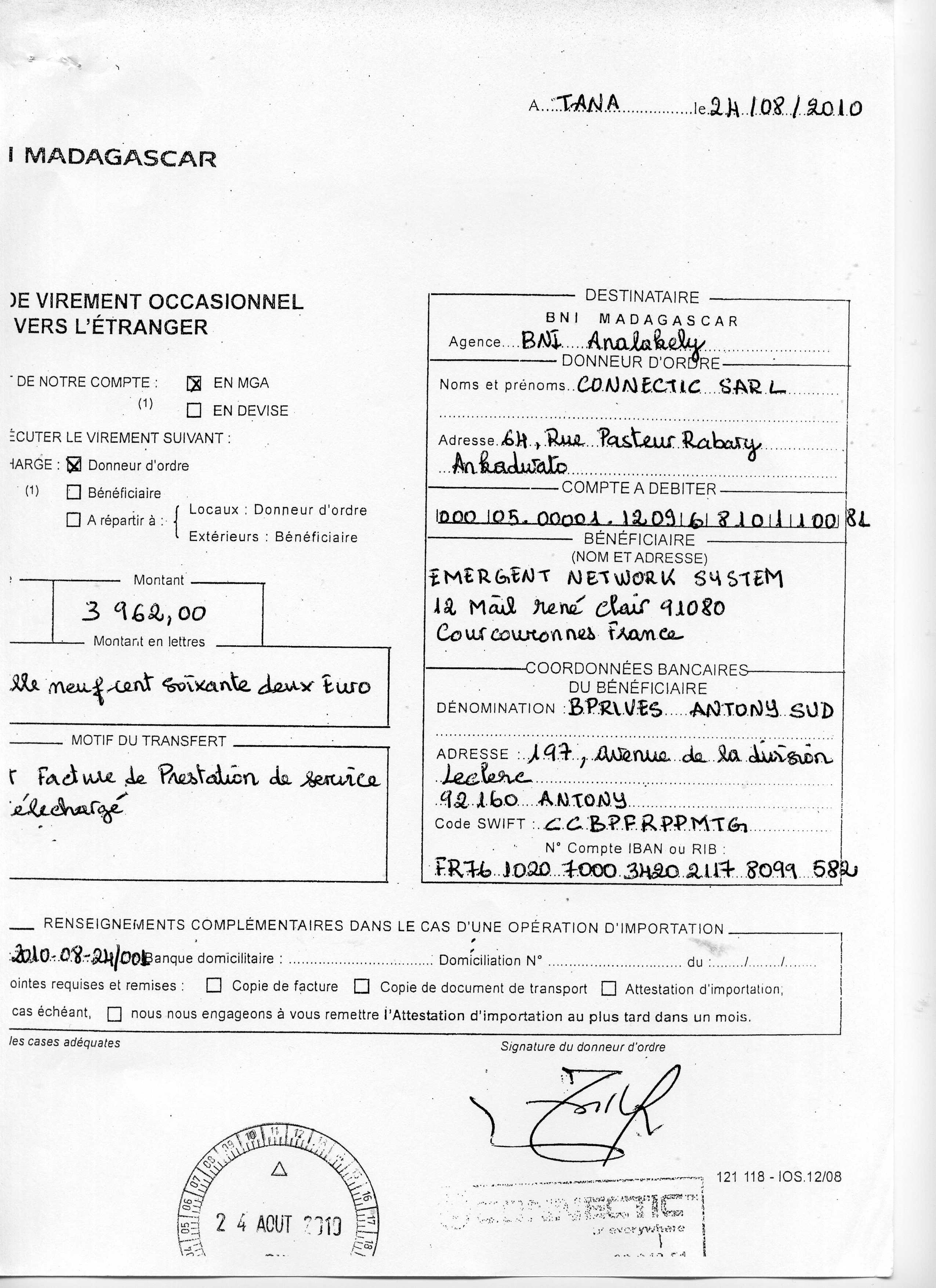 ranarison tsilavo a sign les ordres de virement 2010 4 les preuves qu 39 on a induit en erreur. Black Bedroom Furniture Sets. Home Design Ideas